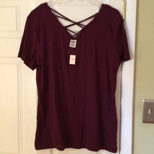 Pink by VS Lace Up Tee Size Large